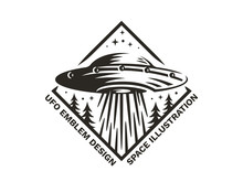 UFO Hovered In The Sky Above The Pine Forest And Emits Light - Emblem, Vector Illustration, Print, Sticker Set On A White Background.
