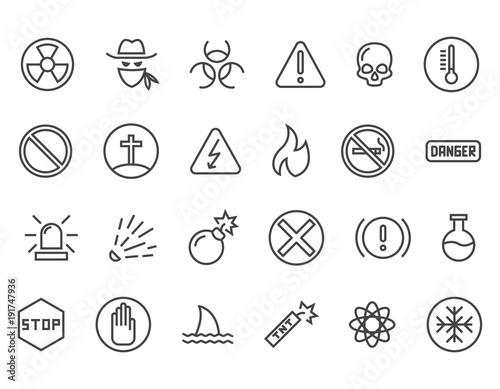 Photo Set of Warnings Related Vector Line Icons