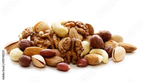 Leinwand Poster nuts mix for a healthy diet (cashew, pistachios, hazelnuts, walnuts, almonds)