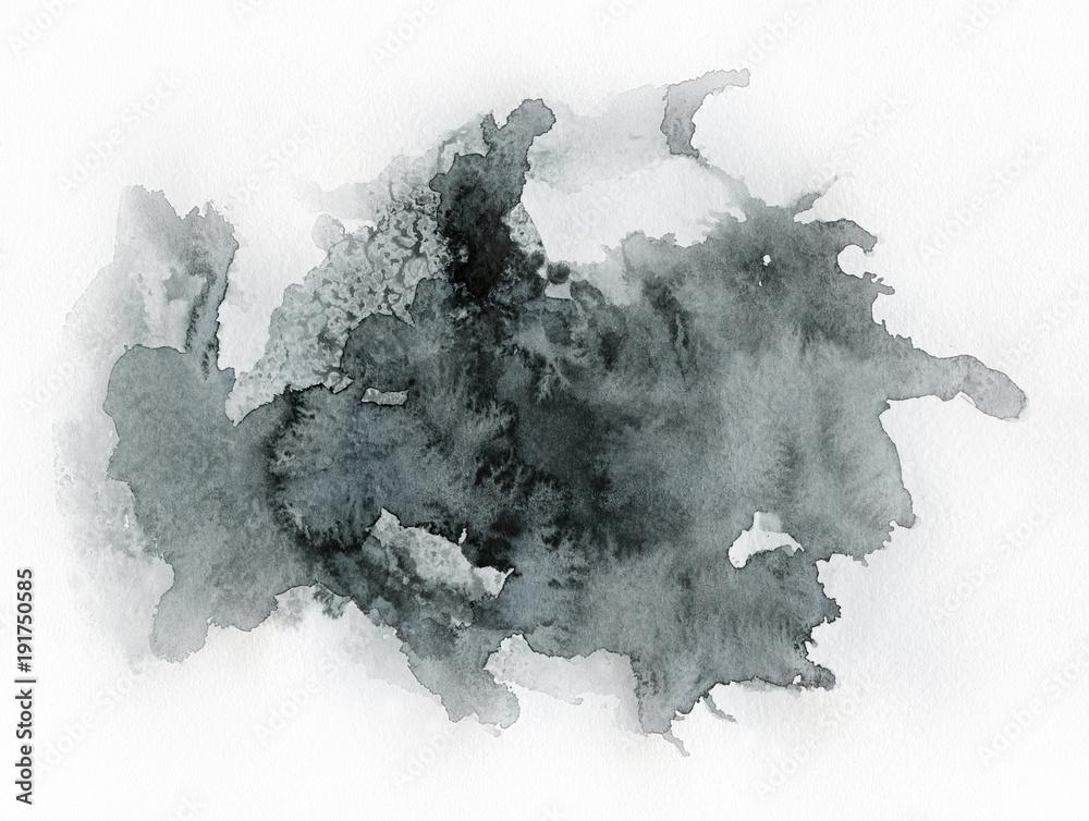 Fototapeta Art of Watercolor. Black spot on watercolor paper.