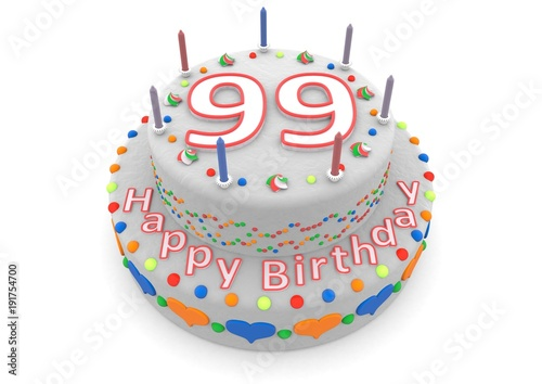 white cake with happy birthday and the age Poster