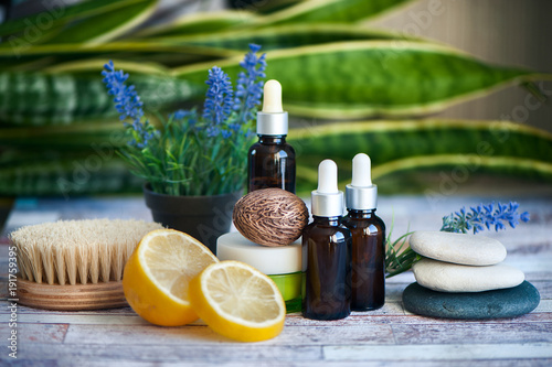 Organic cosmetics, natural fruit oils. Concept spa, skin care, ecological and organic natural cosmetics