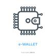 E-wallet line flat icon