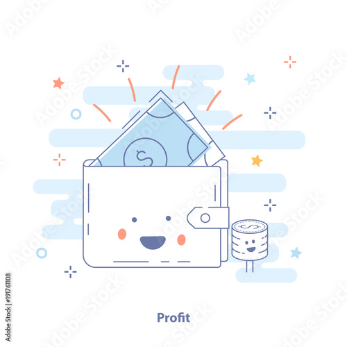 profit or money income icon concept happy wallet with earnings cute premium quality vector illustration for website element mobile websites apps buy this stock vector and explore similar vectors at adobe money income icon concept happy wallet