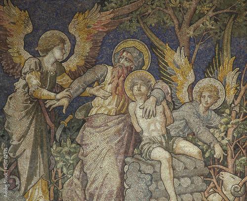 Abraham and his son Isaac (sacrifice). Mosaic. Fotomurales