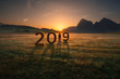 Leinwanddruck Bild - Lone girl looking forward and worried for 2019