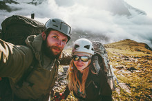 Couple Travel Selfie Man And Woman Hiking In Mountains Love And Adventure Lifestyle Wanderlust Concept