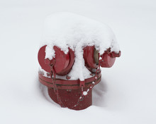 Red Street Hydrant Covered With Snow After Blizzard