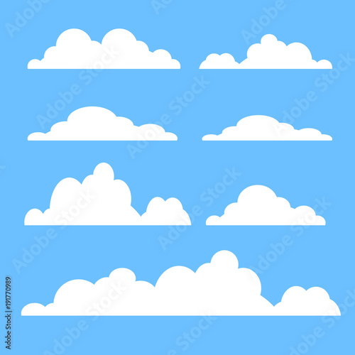 Cloud vector icon set white color on blue background. Sky flat illustration collection for web, art and app design. Different cloudscape weather symbols Wall mural
