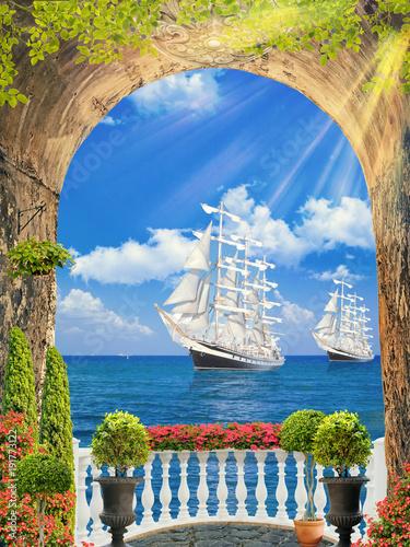Fototapety do przedpokoju  fresk-cyfrowy-ze-statkiem-na-falach-oceanu