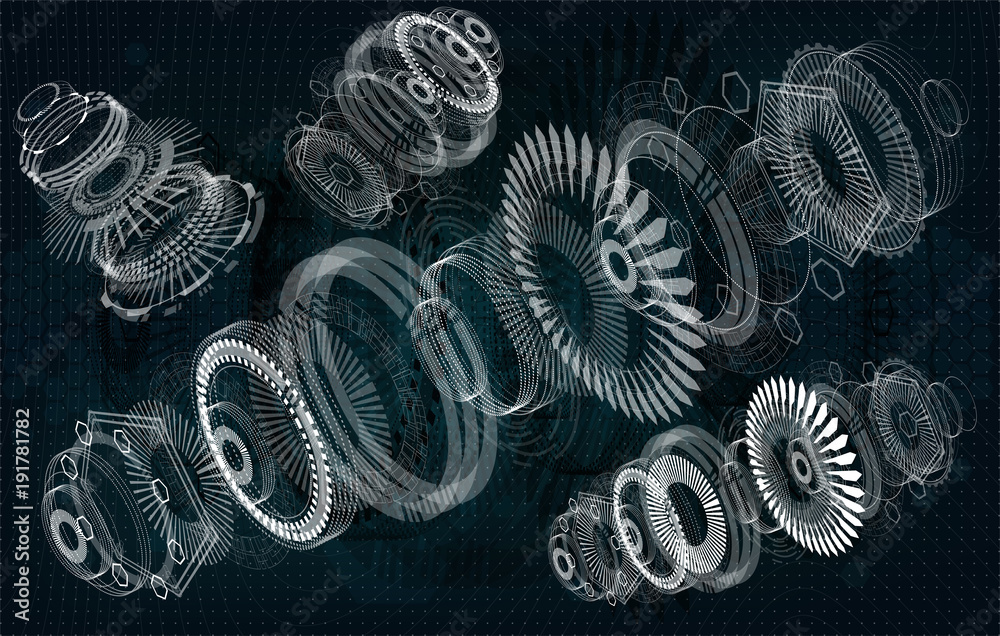 Fototapeta Mechanical diagram, vector drawing with circles and geometric parts of the mechanism. engine, future engineering, HUD, elements interface Ui, Industrial aerospace project, Jet engine of the aircraft