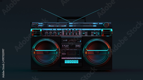 Boombox Moody 80s lighting 3d illustration Wallpaper Mural