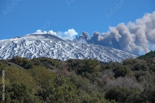 Fotografie, Obraz Eruption Volcanic Cone Mount Etna, Sicily