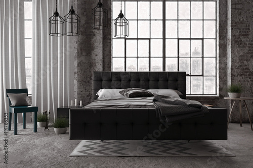 Stylisches Schlafzimmer in modernem industrie Look. Loft. - Buy this ...