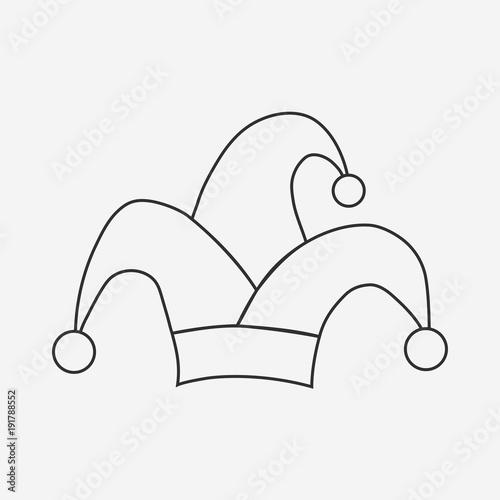 Clown jester hat flat black outline design icon Fotobehang