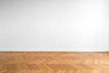 Wooden Parquet Floor And White...