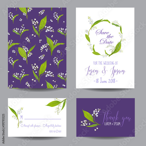 Save The Date Wedding Cards Set With Blossom Lily Flowers Birthday Invitation Anniversary Party RSVP Floral Template Vector Illustration