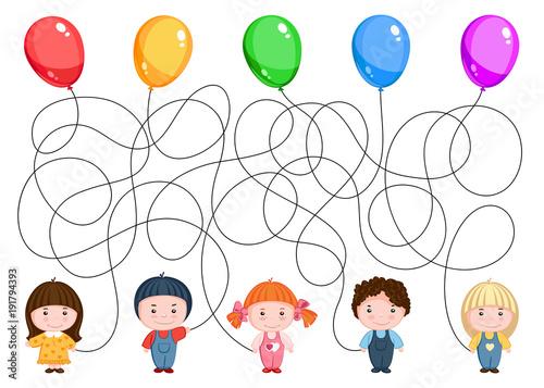 Stampe  Пятеро детей держат воздушны шарики. Найдите, где чей шарик