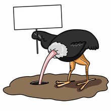 Cartoon The Ostrich Burying Its Head In The Sand And Banner