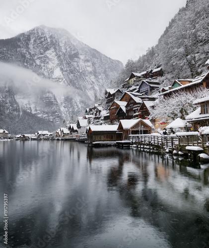 Fototapeta Hallstat village in the Austria. Beautiful village in the mountain valley near lake obraz na płótnie