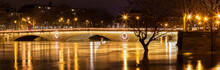 The Panoramic View Of Louis-Philippe Bridge And Seine River In Flooding, Paris.