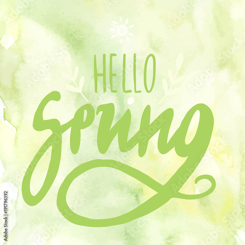 Hello Spring Digital Lettering For Promotion With Flourishes On