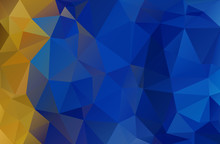 Abstract Background Of Triangles. Blue, Yellow Bright Multicolor Background