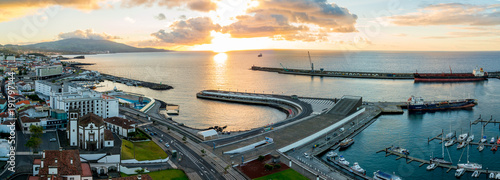 Fotomural  City view on the old town with harbor at Ponta Delgada, capital city of the Azores at Sao Miguel Island