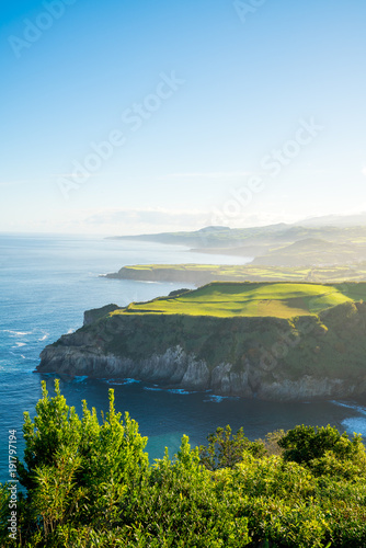 Canvas Prints Blue Beautiful nature view on Azores with small villages, tows, green nature fields. Amazing Azores.