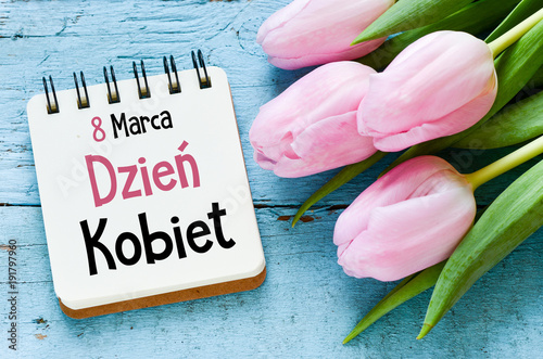 Obraz Women's day card with Polish words DZIEŃ KOBIET - fototapety do salonu