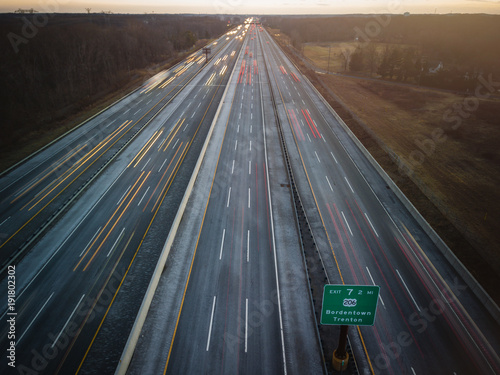 Aerial of New Jersey Roads Traffic Fototapeta