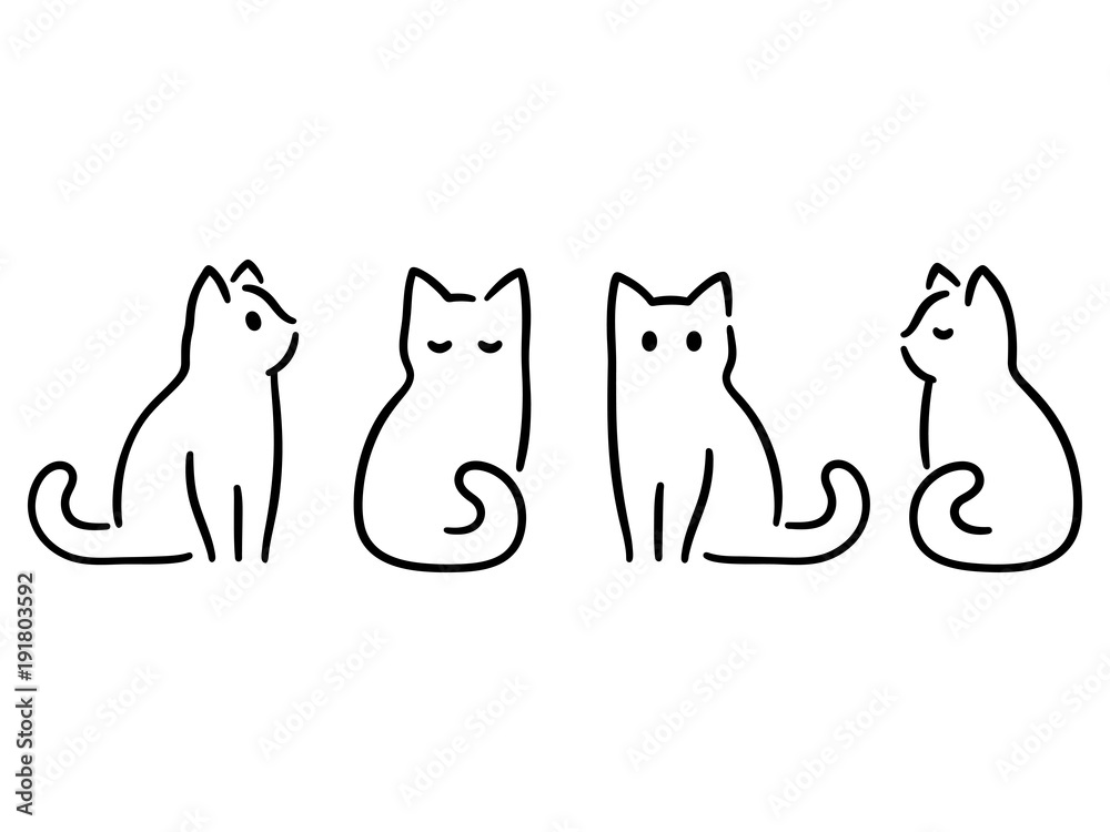Fototapety, obrazy: Minimal cat drawing