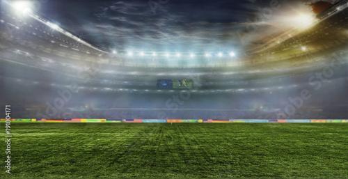 Spoed Foto op Canvas Stadion Soccer ball on the field of stadium