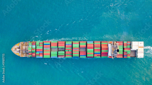 Large container ship at sea - Aerial image.