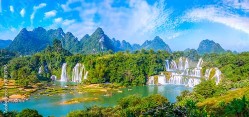 Foto op Canvas Blauwe hemel Waterfall of landscape scenery