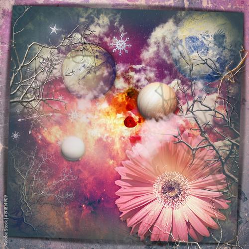 Poster Imagination Cielo fantastico e stellato con fiore e pianeti