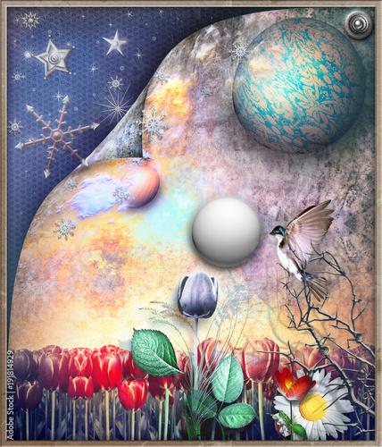 Poster Imagination Campo di tulipani fiabesco e surreale con stelle,luna e fiocchi di neve