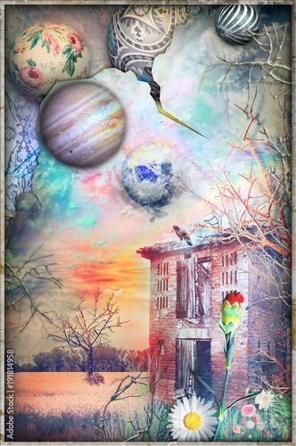Poster Imagination Rifugio diroccato e abbandonato in un paesaggio fantastico e surreale
