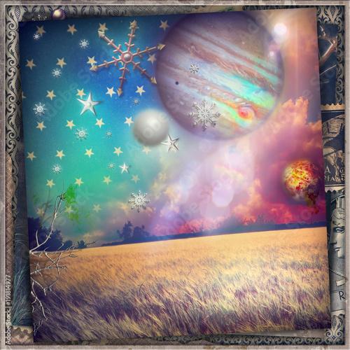 Poster Imagination Notte stellata in un paesaggio fantastico e surreale