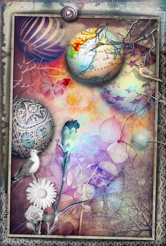Poster Imagination Paesaggio surreale e fiabesco con fiori colorati