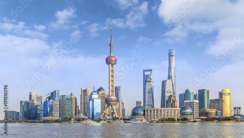Photo Stands Shanghai Urban architectural landscape in the Bund, Shanghai