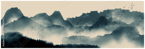 Foto op Aluminium Groen blauw Chinese ink and water landscape painting