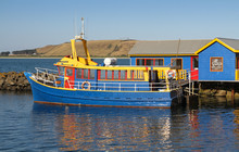 Bright Bue And Yellow Boat Aga...