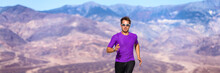 Athlete Trail Running In Deser...