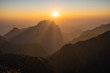 Majestic sunset in the mountains landscape, Majestic sunset in the mountains landscape with sunny beams, Chiang Dao national park. Thailand