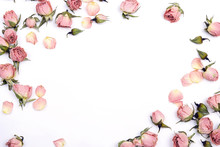 Frame Of Small Dry Roses On White Background. Place For Text.
