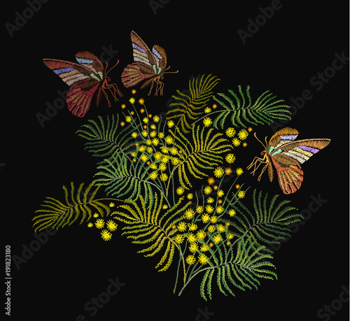 Tuinposter Vlinders Embroidery mimosa flowers and butterflies. Fashion template for clothes, textiles, t-shirt design. Classical embroidery vintage yellow mimosa brunch and tropical butterflies