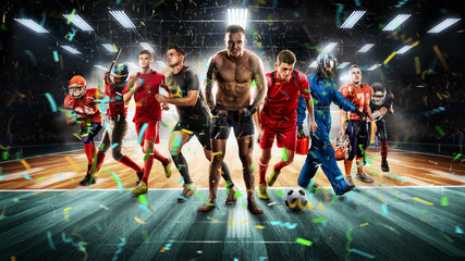 players of different sports on the vollayball stadium 3D rendering