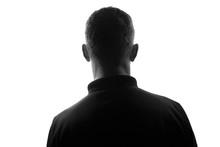 Male Person Silhouette,back Lit Over White