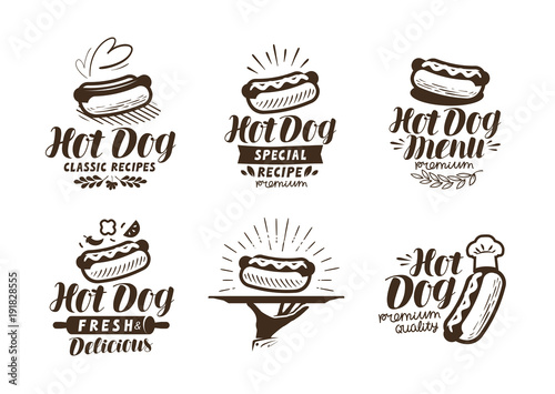 Fotografie, Tablou Hot dog logo or label